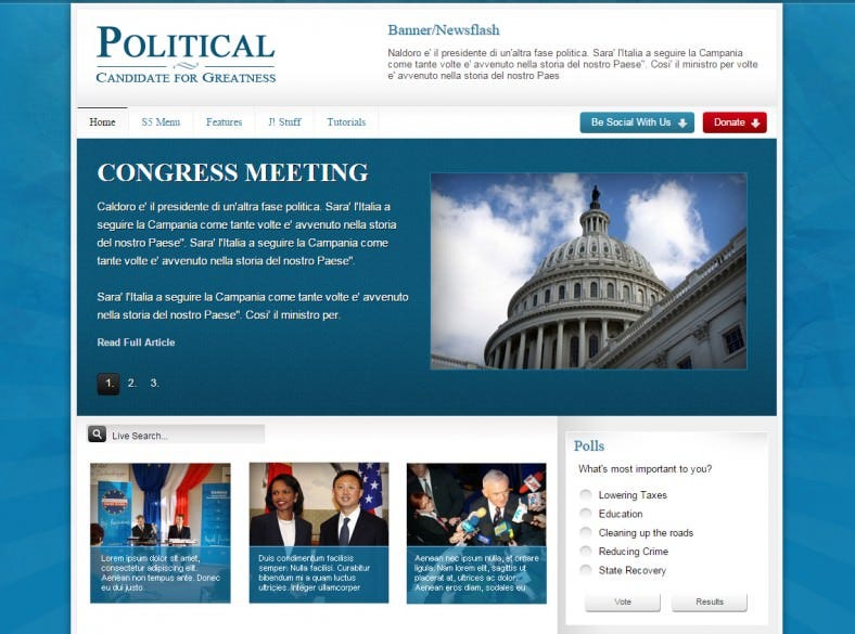 political joomla club template 788x585