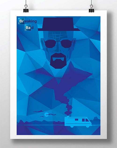 polygon breaking bad psd poster