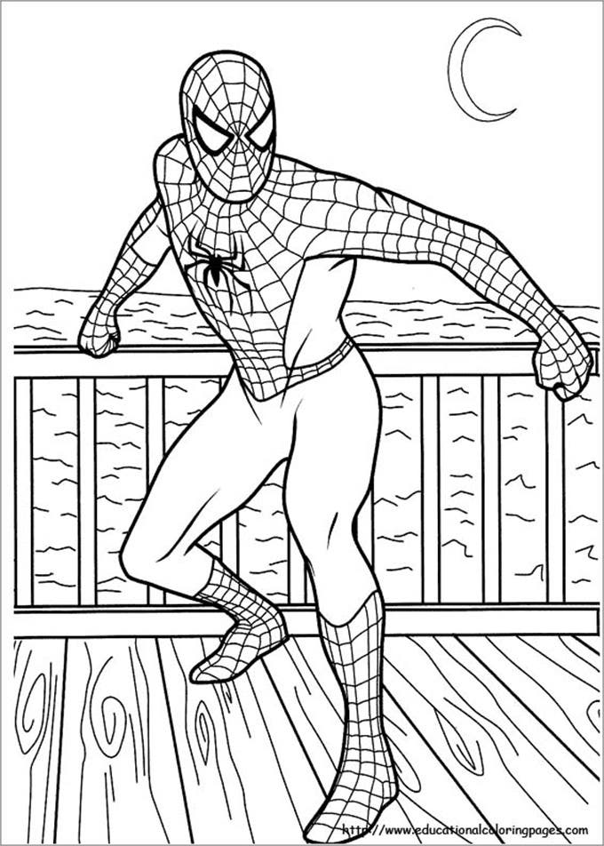 posing spiderman coloring page