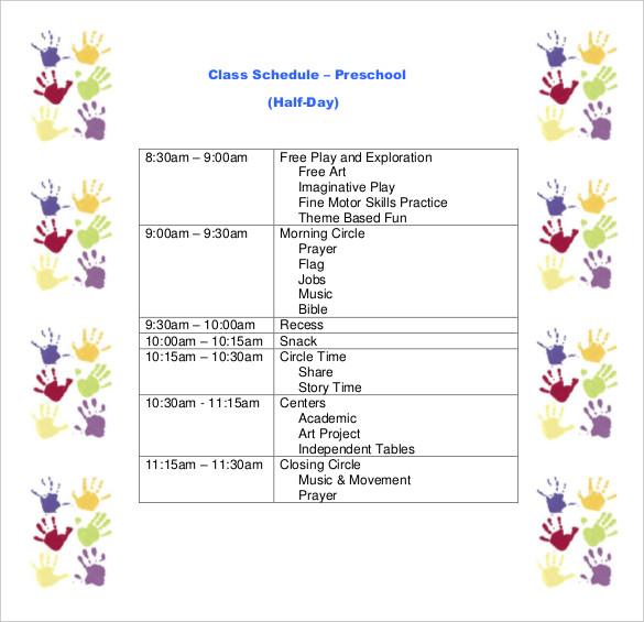 preschool-class-schedule