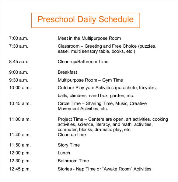 preschool daily schedules daily schedule template 37 free word excel pdf 437
