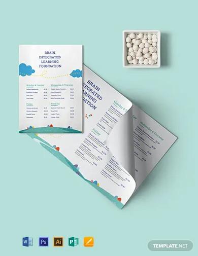 preschool food menu template