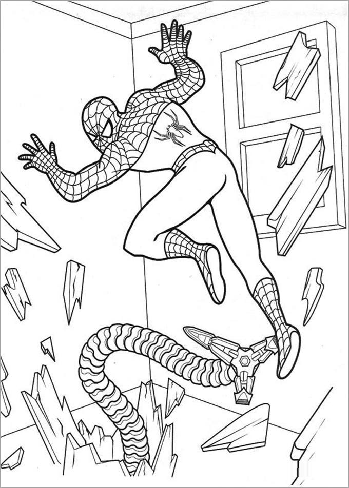 print colouring pages spiderman
