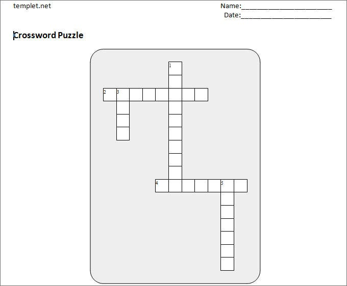 Blank Crossword Template - Crossword Template