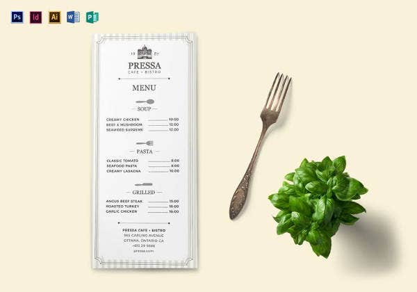 printable classy food menu template