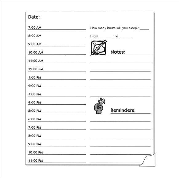 Peaceful image in printable hourly schedule