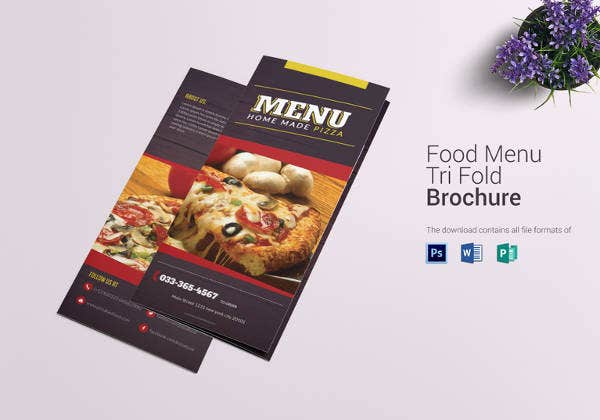 printable pizza menu trifold template