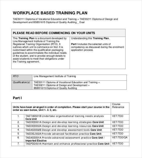 printable workplace based training plan