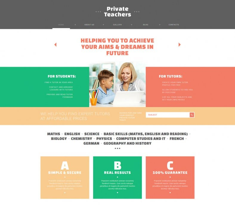 private teachers assistance joomla template 75 788x689