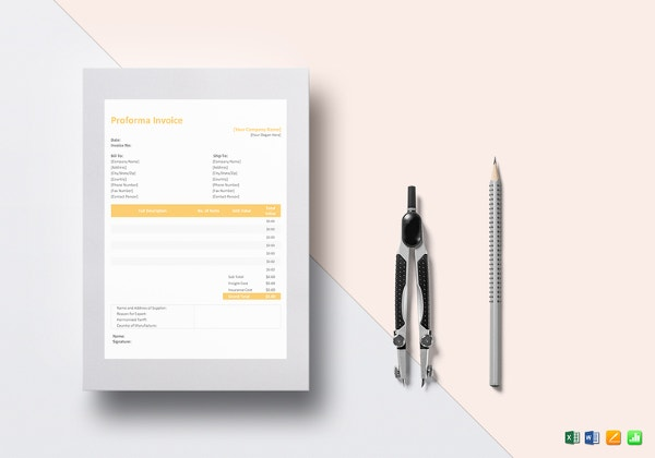 Proforma Invoice Template Free Excel Word PDF Documents Download - Construction invoice template excel free tobacco online store