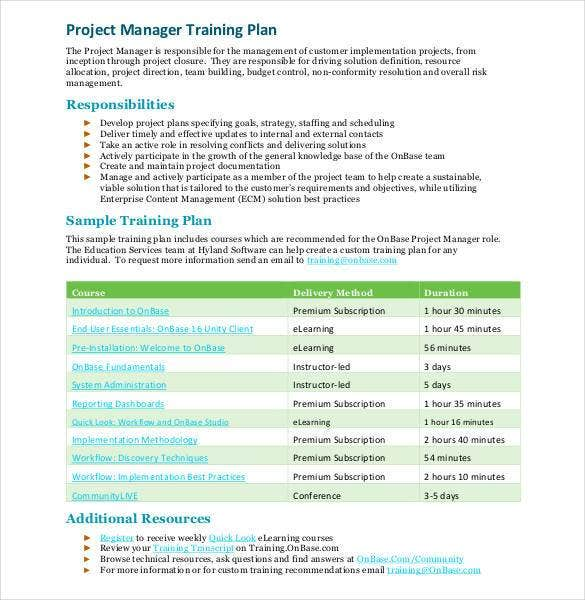 project manager training plan1