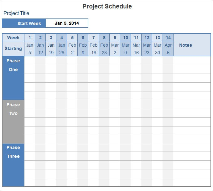project schedule template free download