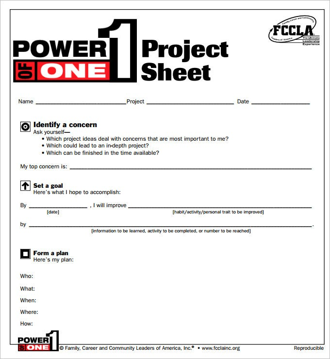 sample project sheet