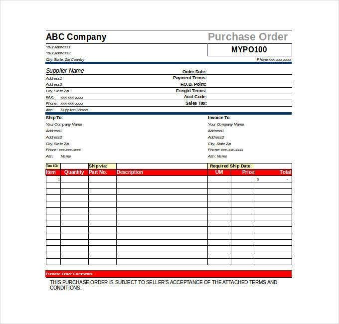 Purchase Order Template   Free Word Excel Pdf Documents