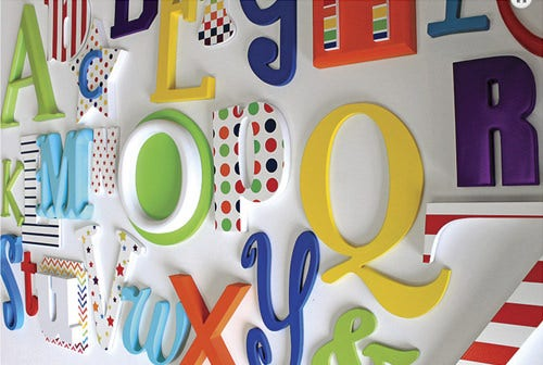 rainbow mix nursery alphabet letters full set