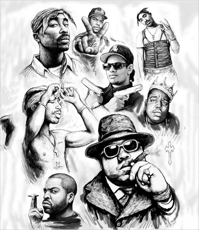 rap group drawing art sketch poster by kim wang