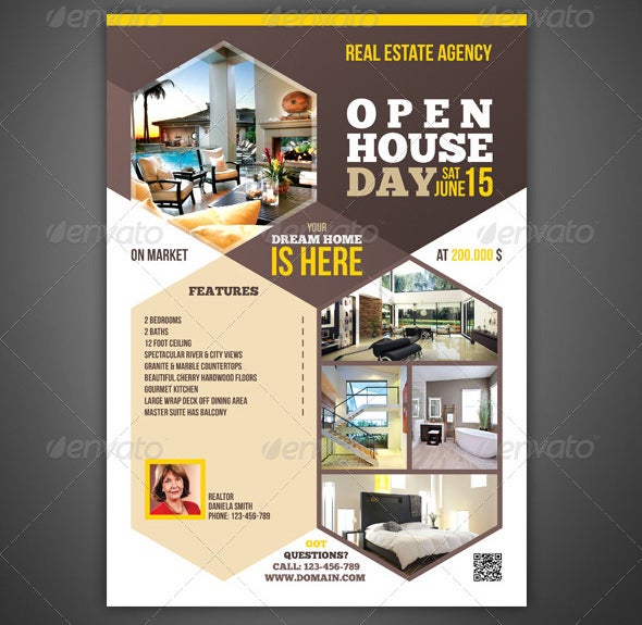 real estate flyer template of open house
