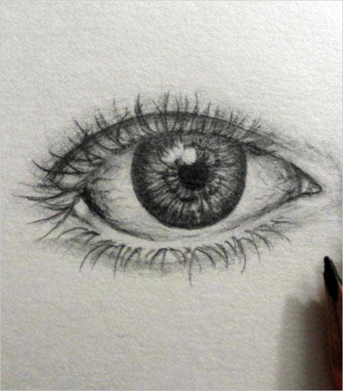 real eye pencil drawing