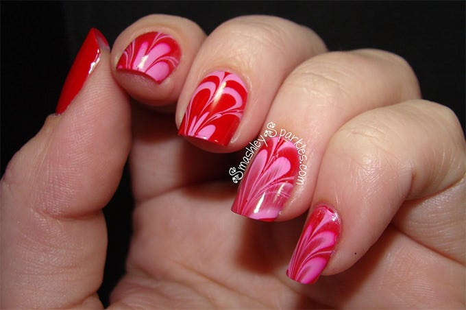 red valentine nail design