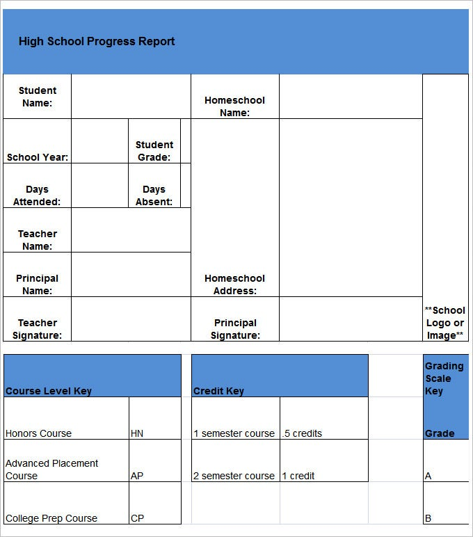 report card template free download