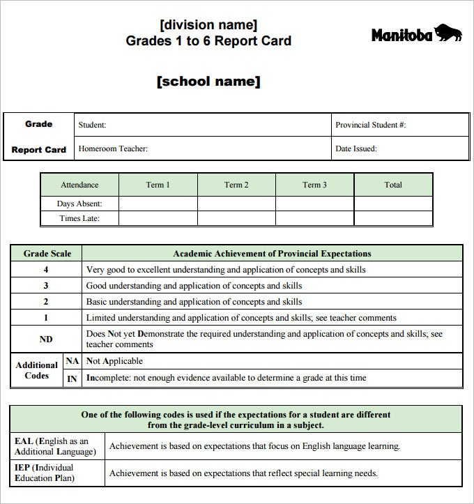 report card template pdf download