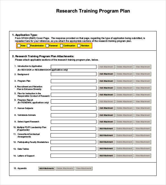 research training program plan