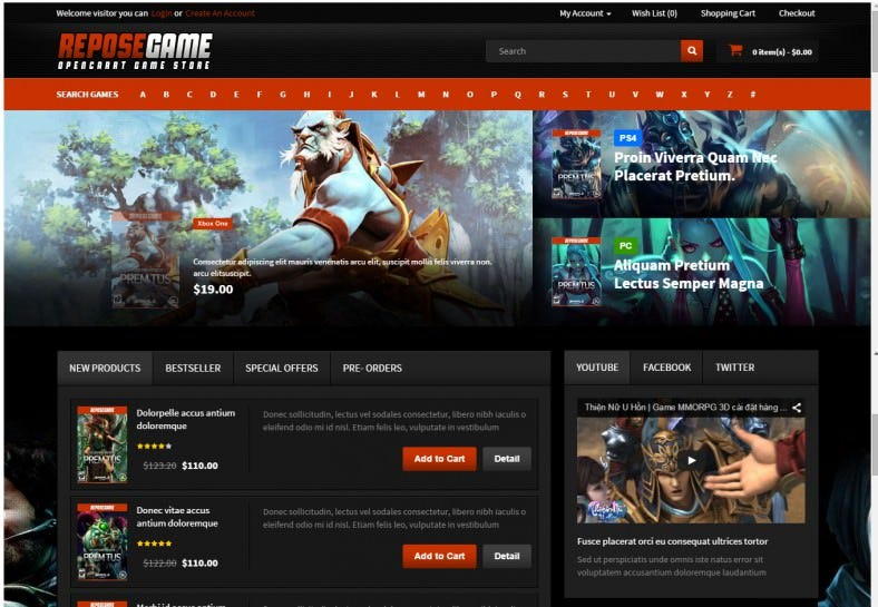 Responsive OpenCart Game Theme