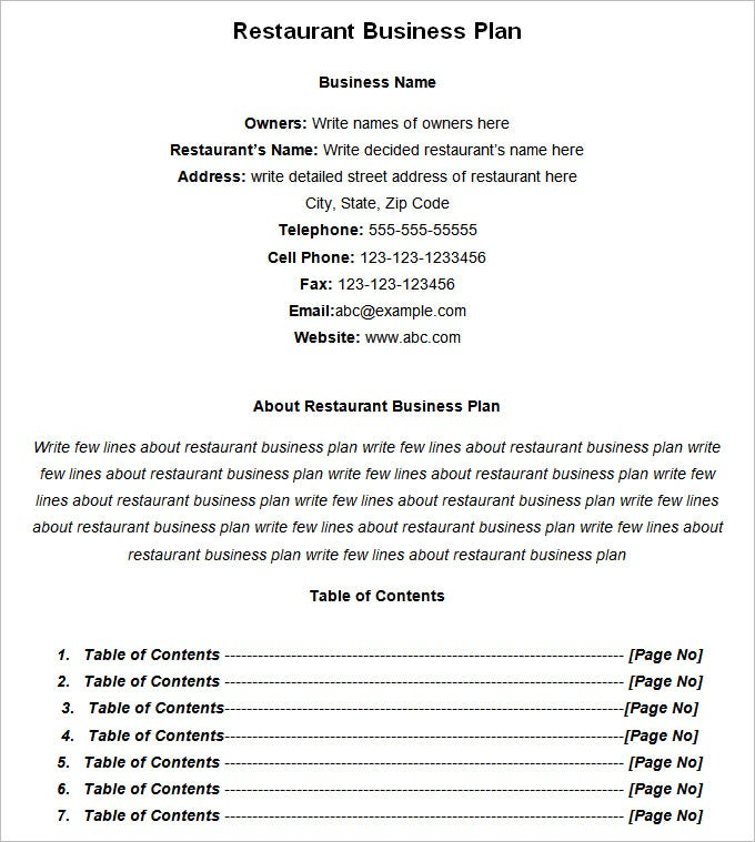 restaurant business plan template free download