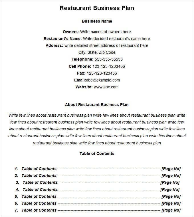 Business plan for a restaurant pdf