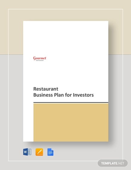 restaurant business plan for investors template