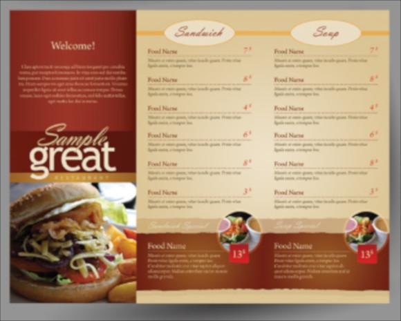 restaurant cafe menu sample download