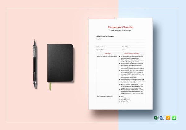 restaurant checklist template1
