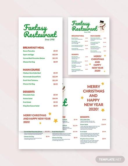 restaurant holiday menu template
