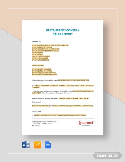 restaurant monthly sales report template
