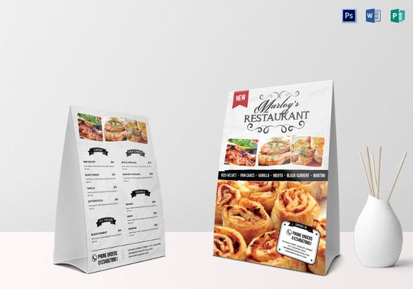 restaurant table tent menu card design