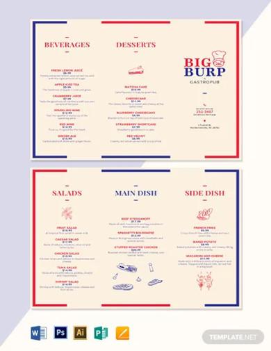 restaurant trifold menu template