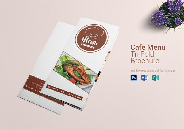 restro cafe tri fold brochure menu