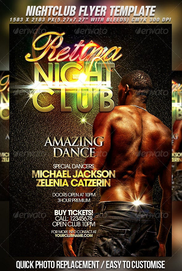 retina night club flyer template