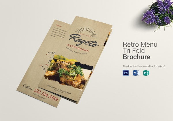 retro food menu trifold template1