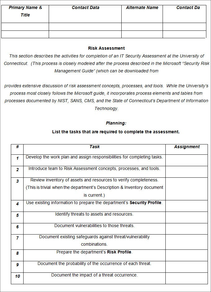 Risk analysis template 2 free word documents download for It risk analysis template