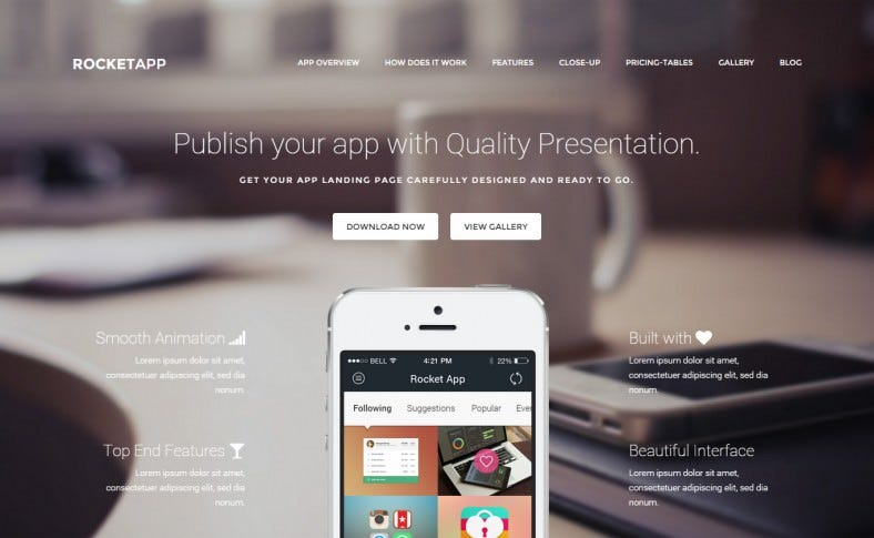 Responsive App Showcase WordPress Theme