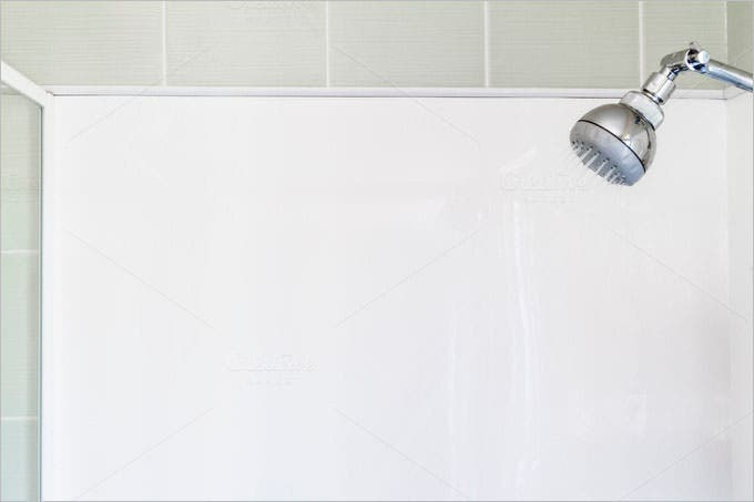 running shower white background