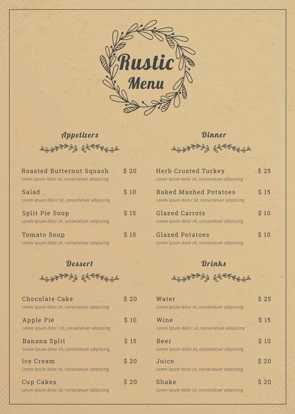 rustic restaurant menu word template