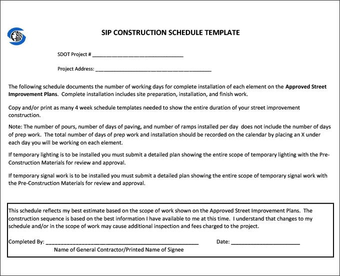 Construction Schedule Templates - 13+ Free Word, Excel, PDF Format ...