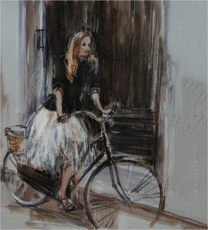 saatchi art artist nelina trubach moshnikova ink 2014 drawing bike