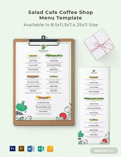 salad cafe coffee shop menu template