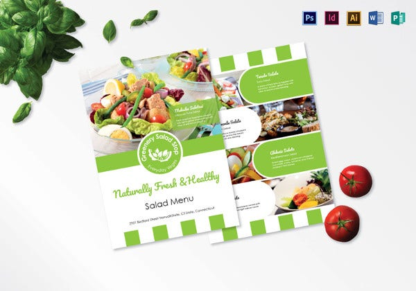salad menu psd template