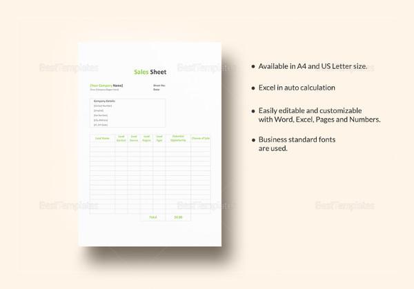 sales sheet template1