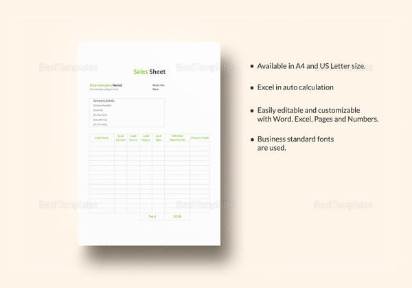 sales-sheet-template