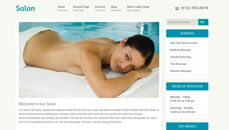 WordPress CMS Theme for Salon Spa